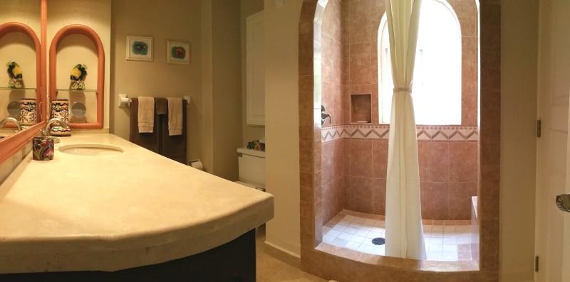 Enjoy the luxurious walk-in shower.