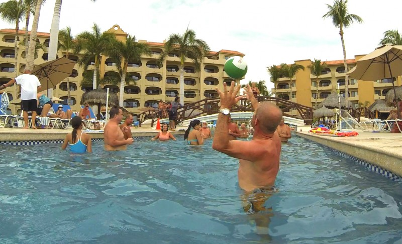 Pool volleyball is very popular.